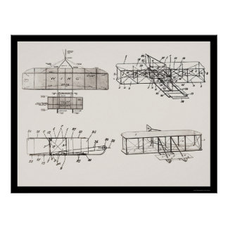 Wright Brothers Aeroplane Patent Plans 1908 Poster