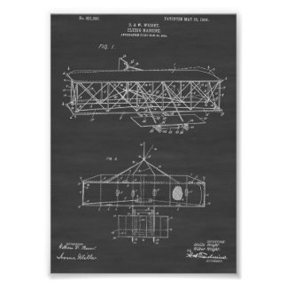 Wright Brothers Airplane Patent - Chalkboard Poster