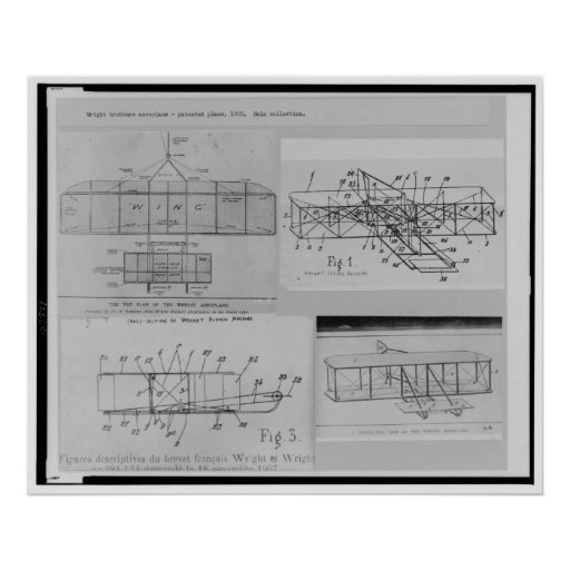 WRIGHT BROTHERS AIRPLANE PATENT DRAWINGS PRINT