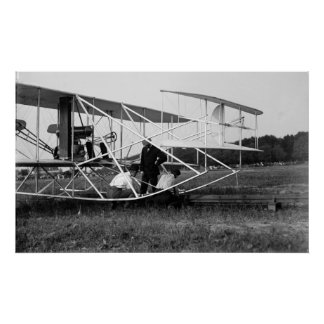 Wright Brothers Biplane on Launch Track 1909 Poster