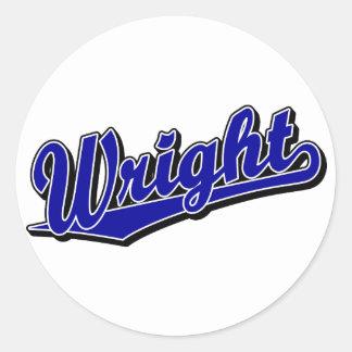 Wright in Blue Round Sticker