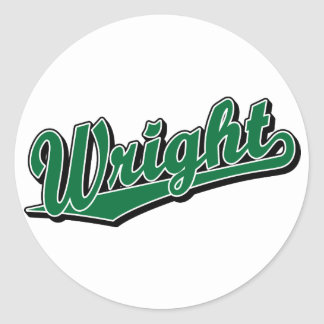 Wright in Green Round Stickers