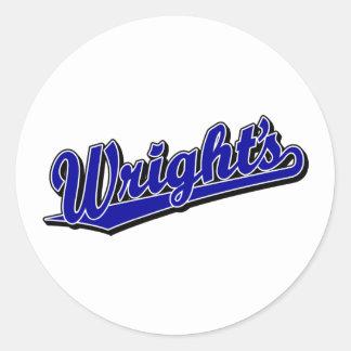 Wright s in Blue Round Sticker