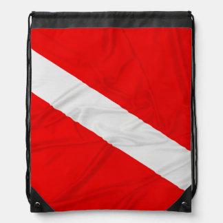 Wrinkled Diver Down Flag Drawstring Bag