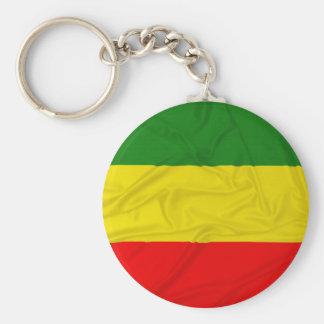 Wrinkled Rastafarian Flag Basic Round Button Key Ring