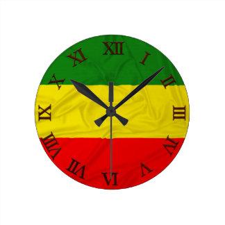 Wrinkled Rastafarian Flag Round Clock