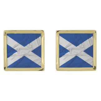 Wrinkled Scotland Flag Gold Finish Cuff Links