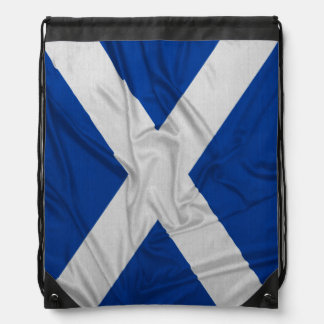 Wrinkled Scotland Flag Drawstring Bags