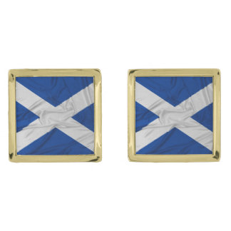 Wrinkled Scotland Flag Gold Finish Cuff Links