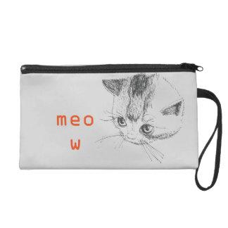Wristlet Cat Drawing Meow Bag