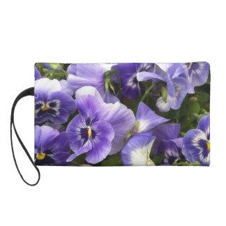 Wristlet with Purple Pansies