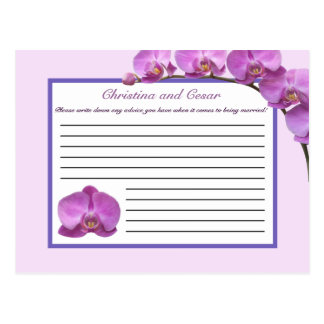Writable Advice Card Purple Orchids on Stem