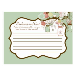 Writable Advice Card Spring Floral Mason Jars Postcard