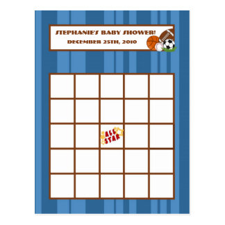 Writable Bingo Card All-Star Blue Postcard