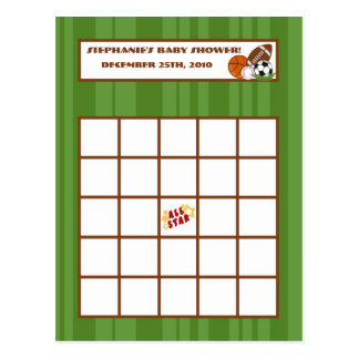 Writable Bingo Card All-Star Green Postcard