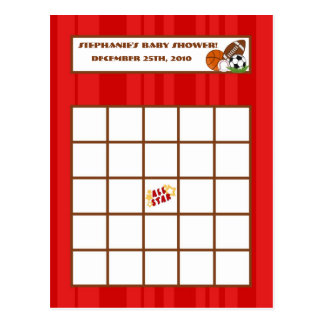 Writable Bingo Card All-Star Red Post Card