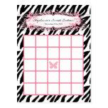 Writable Bingo Card Girly Butterfly Zebra Print