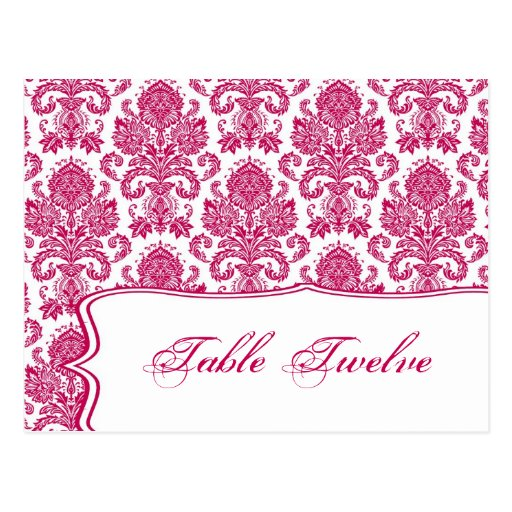 Writable Place Card Fusia White Damask Lace Print Postcards