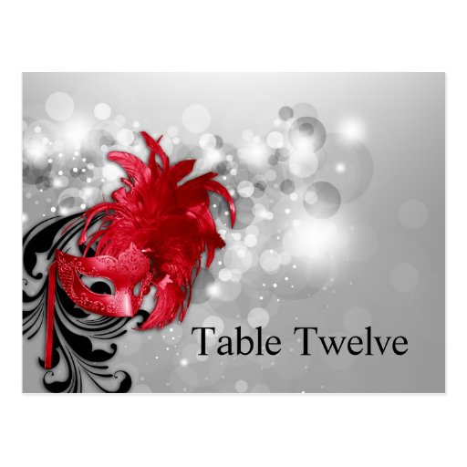 Writable Place Card Red on Silver Masquerade Post Cards