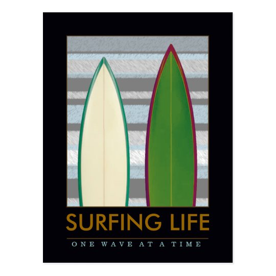 write about surfing postcard