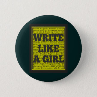 Write Like a Girl Charcoal 6 Cm Round Badge