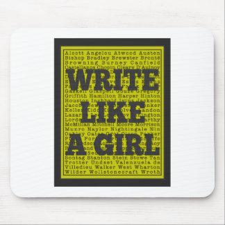 Write Like a Girl Charcoal Mouse Pad