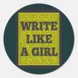 Write Like a Girl Charcoal Round Sticker