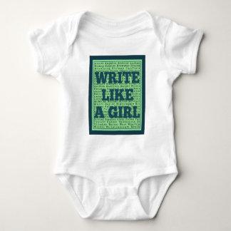 Write Like a Girl Peacock Baby Bodysuit