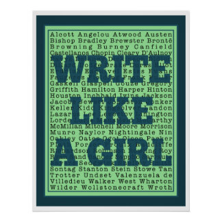 Write Like a Girl Peacock Print