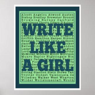 Write Like a Girl Peacock Print