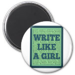 Write Like a Girl Peacock Refrigerator Magnet