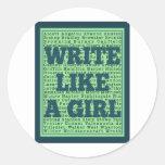 Write Like a Girl Peacock Round Sticker