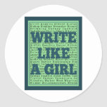 Write Like a Girl Peacock Sticker