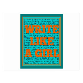 Write Like a Girl Teal Postcard