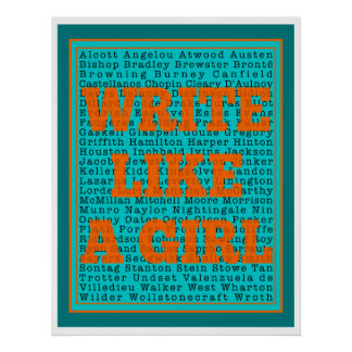 Write Like a Girl Teal Print