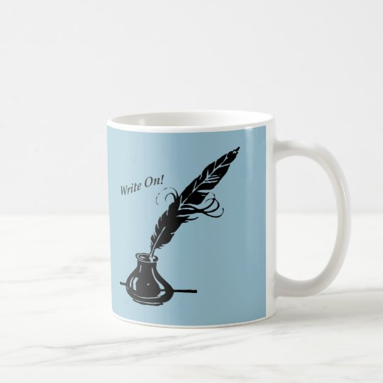 Write On! Quill Ink Coffee Cup Writers Light Blue