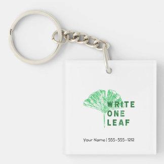Write One Leaf Merch   Gingko Single-Sided Square Acrylic Key Ring