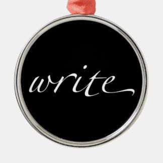 Write Silver-Colored Round Decoration