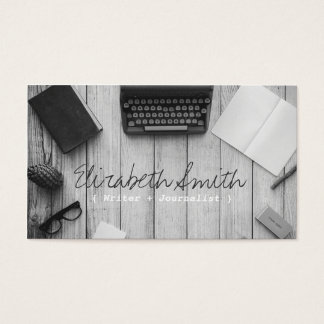 Writer author vintage black and white typewriter business card
