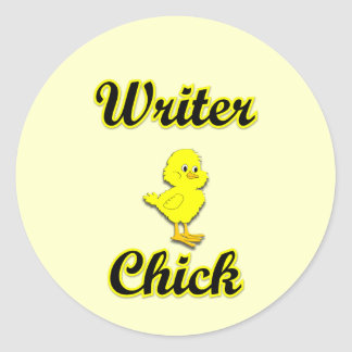 Writer Chick Classic Round Sticker