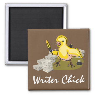 Writer Chick with Paper, Feather Quill and Ink Magnet