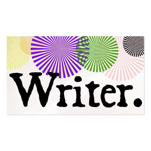 Writer Color Bursts Business Cards