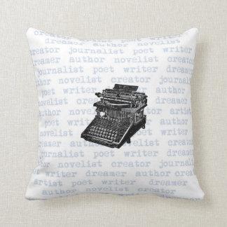 Writer Creator Blue Vintage Typewriter Pillow