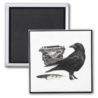Writer Crow square magnet