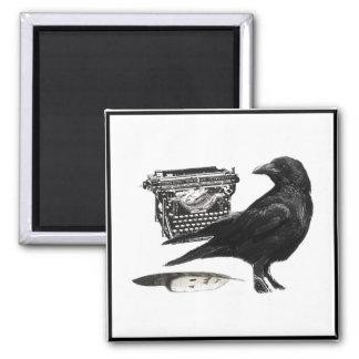 Writer Crow square magnet