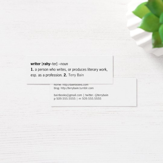 Writer Defined [as You] Mini Business Card