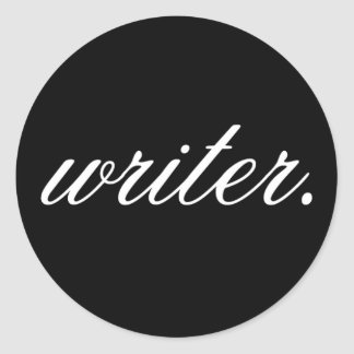 writer. (fancy, white on black) - Stickers