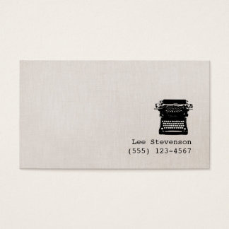 Writer Faux Linen Vintage Typewriter Simple Business Card