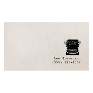 Writer Faux Linen Vintage Typewriter Simple Pack Of Standard Business Cards