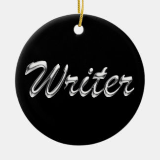 Writer Metallic Looking Script Christmas Ornament